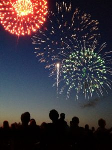Fourth of July Firework Display with Spectators Vertical